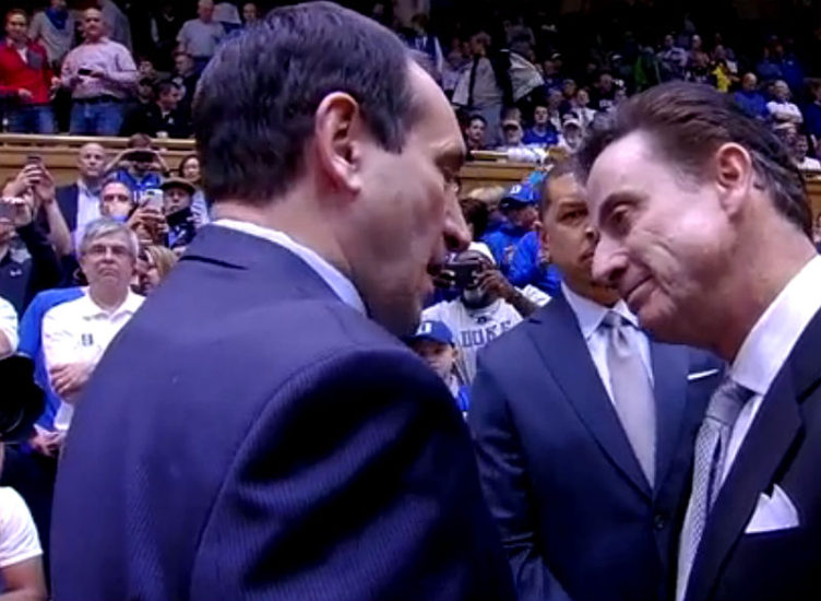 Coach Mike Krzyzewski and coach Rick Pitino before Duke v Louisville