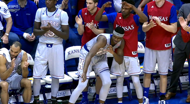 Kansas Jayhawks basketball team players celebrates