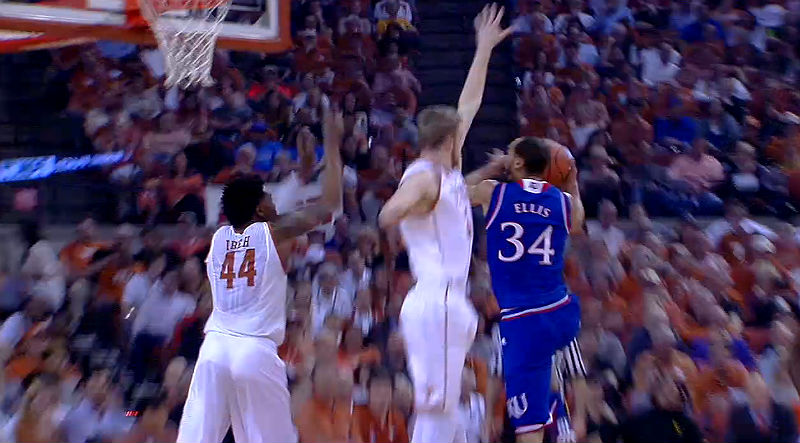 Perry Ellis in action for Kansas against Texas