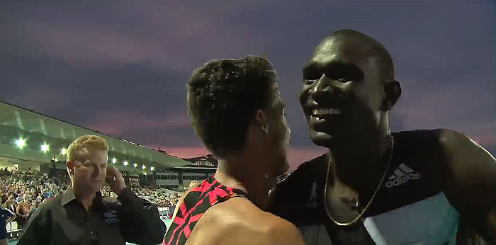 David Rudisha of Kenya with Luke Mathews