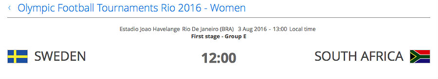 Sweden v South Africa: Rio Olympic Games
