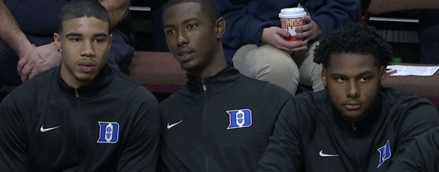 Duke freshmen Jayson Tatum Harry Giles and Marques Bolden