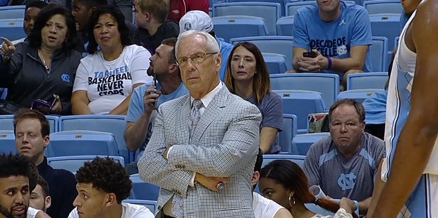 North Carolina basketball head coach Roy Williams