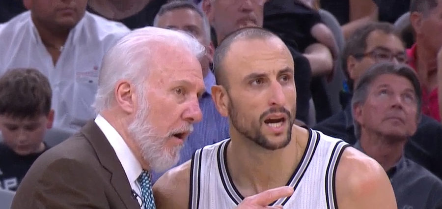Gregg Popovich and Manu Ginobili NBA Playoffs