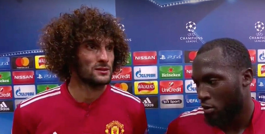 Marouane Fellaini and Romelu Lukaku