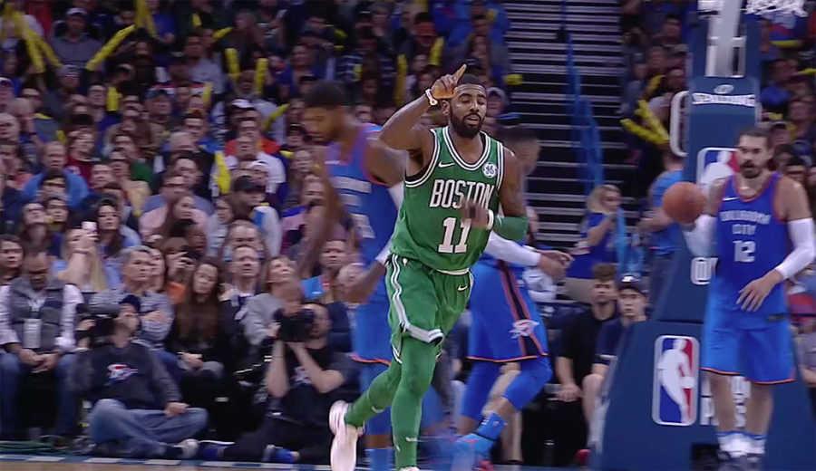 Kyrie Irving after scoring for Boston Celtics