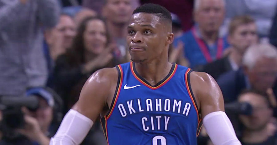 Russell Westbrook from the Oklahoma City Thunder