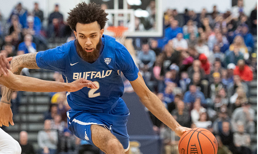 Jeremy Harris of Buffalo basketball in action