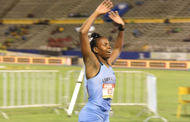 Kevona Davis of Edwin Allen HS at Champs 2019
