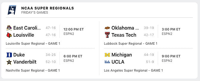 Super Regional Full Schedule