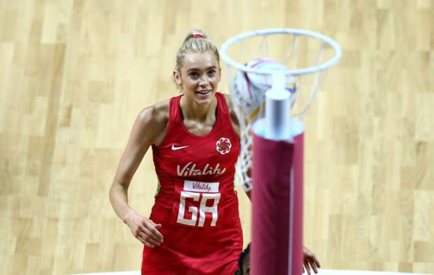 Joanne Harten of England at Vitality Netball World Cup 2019
