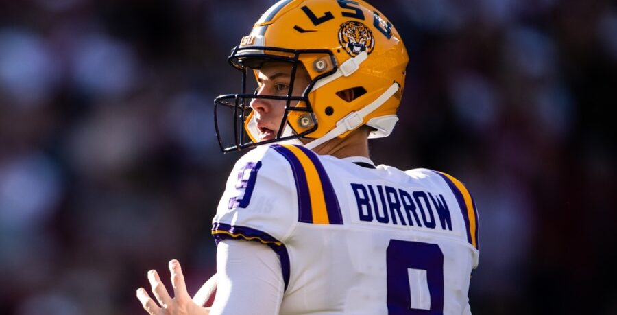 Joe Burrow of LSU in action