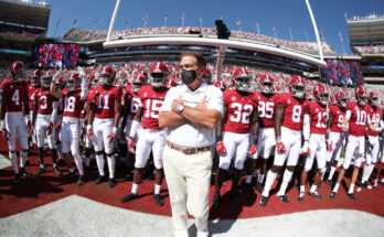 Nick Saban with his Alabama Crimson Tide