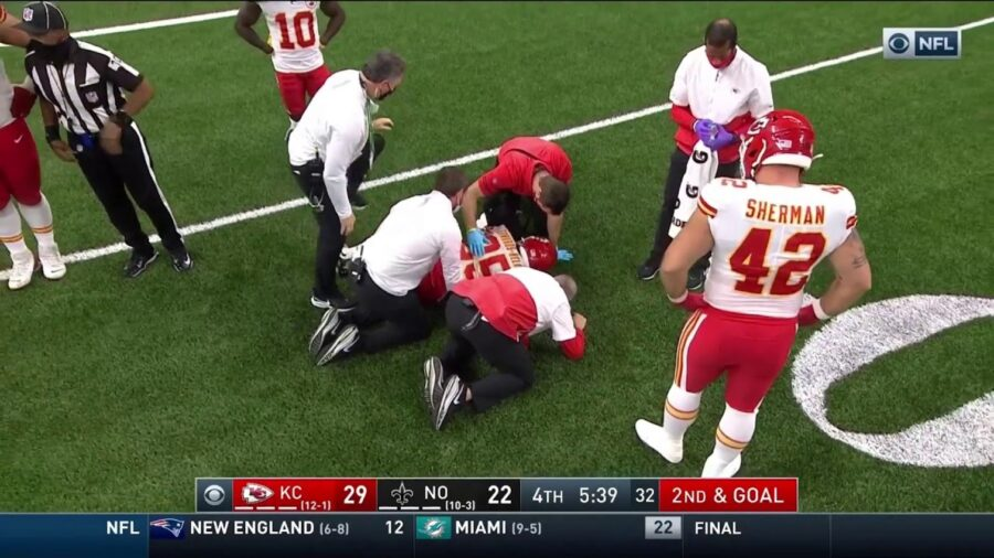Clyde Edwards-Helaire of the Kansas City Chiefs injured against New Orleans Saints