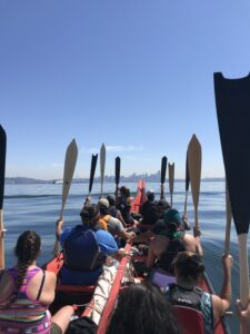 view from 33ft canoe of Seattle from