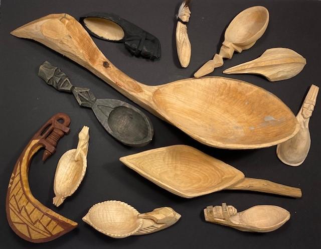 Carved spoons, ladle & baylor