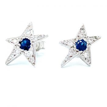 Diamond Star Earrings with Sapphires jewelry