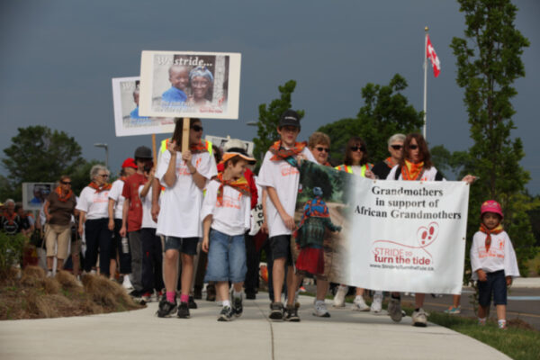 Grandmothers and grandothers raising funds and awareness through the annual Stride to turn the tide walk.