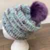 Purple and blue knit toque