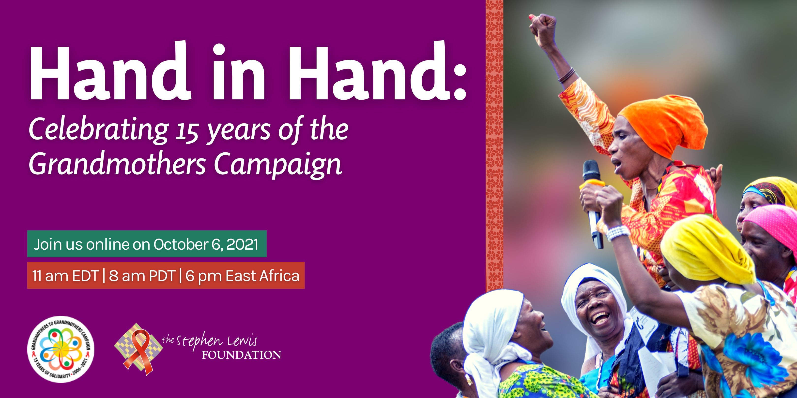 An event poster for the online celebration of the 15th anniversary of the Grandmothers Campaign
