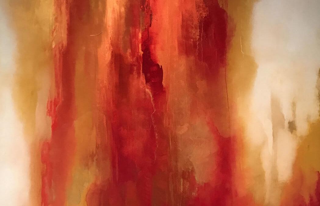 Brushstrokes Through Red