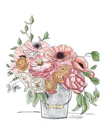 Summer Floral Bucket