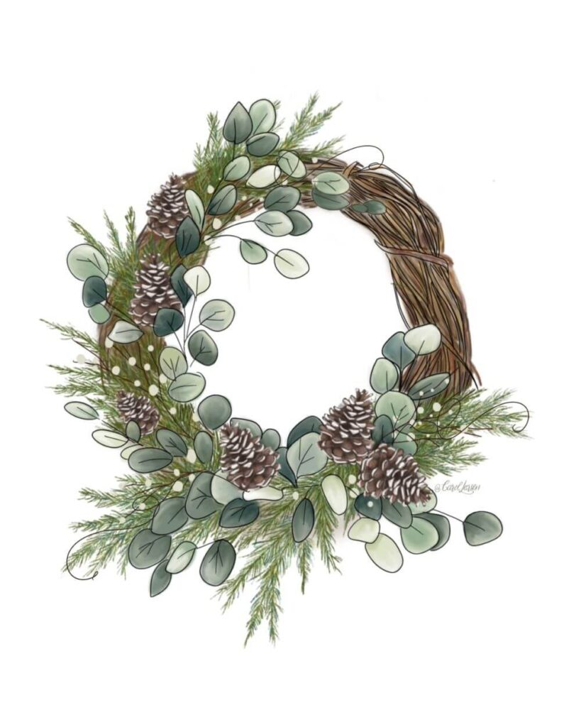 Name-Winter Christmas WreathTag-Thinking of you Celebrations Encouragement_Collection Winter