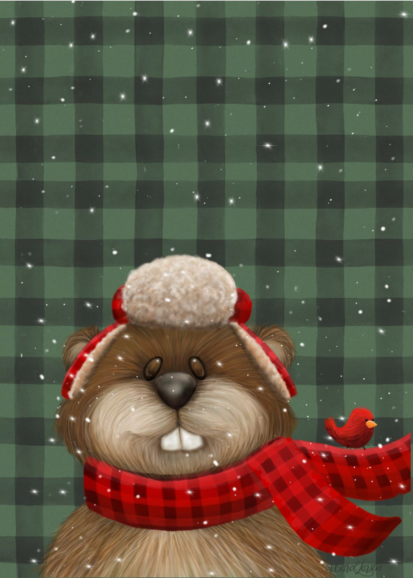Name-Holiday BeaverChristmas_Tag-Celebrations Animals_Collection-Winter