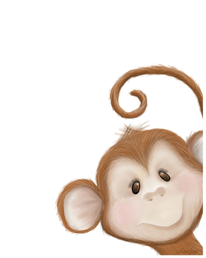 Name-Monkey on White Background_Tag-Animals_Collection-All Seasons.