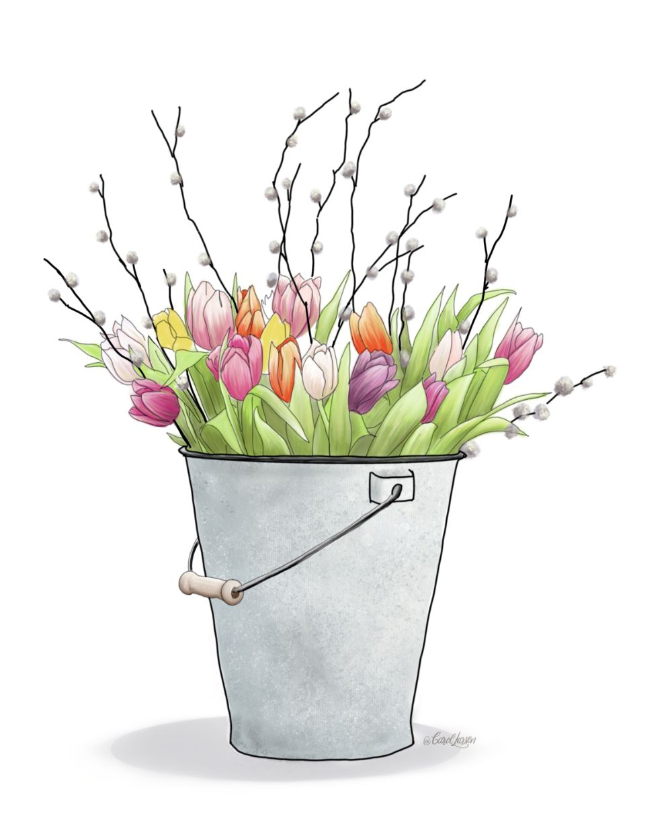 Name-Spring Floral Bucket_Tag-Thinking of you Celebrations Encouragement_Collection Spring