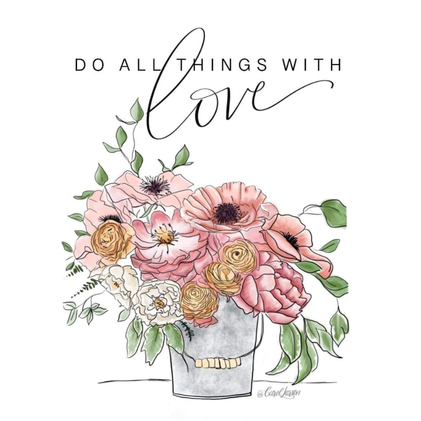 Summer Floral Bucket with Love