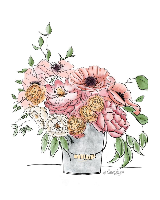 Name-Summer Floral Bucket_Tag-Thinking of you Celebrations Encouragement_Collection-Summer