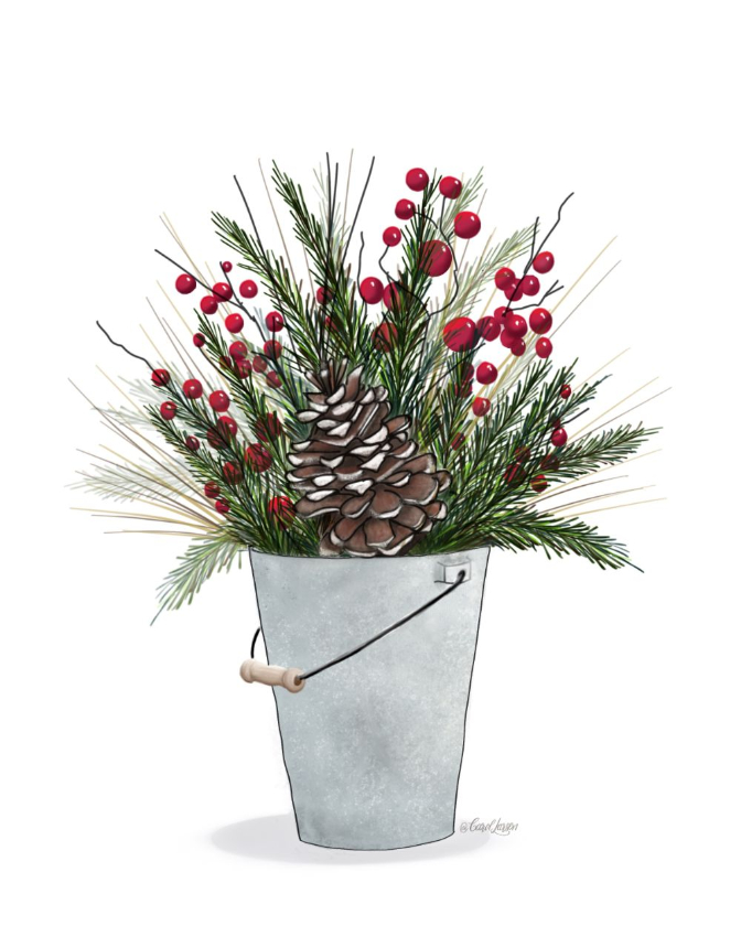 Name-Winter Christmas Bucket_Tag-Thinking of you Celebrations Encouragement_Collection Winter