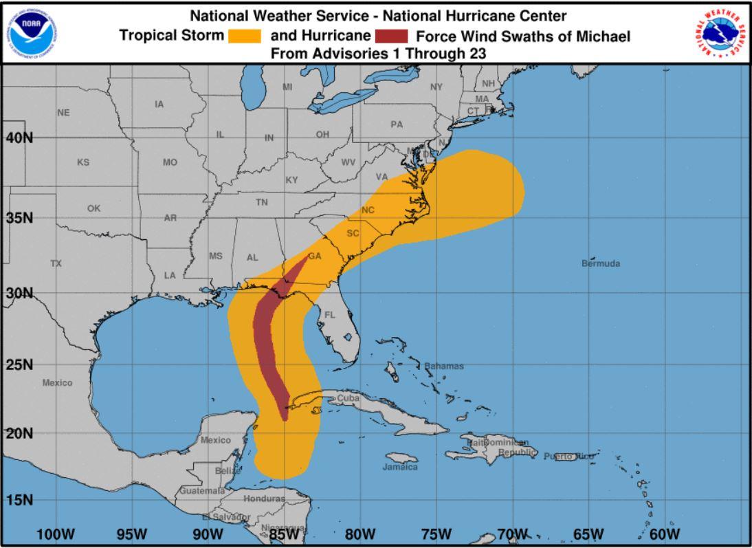 Wind patterns of Hurricane Michael