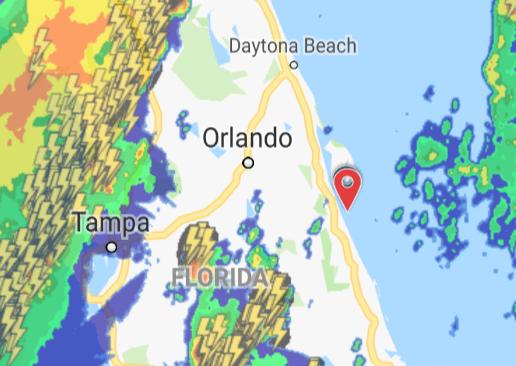 Radar image showing lightning strikes in storms over Central Florida.