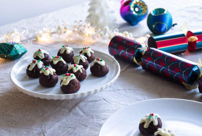 Delicious Chocolate orange Christmas Pudding profiteroles