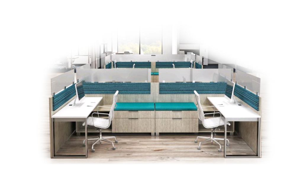 reconfigured cubicles for social distancing in the office