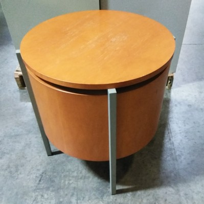 Round end table golden cherry wood