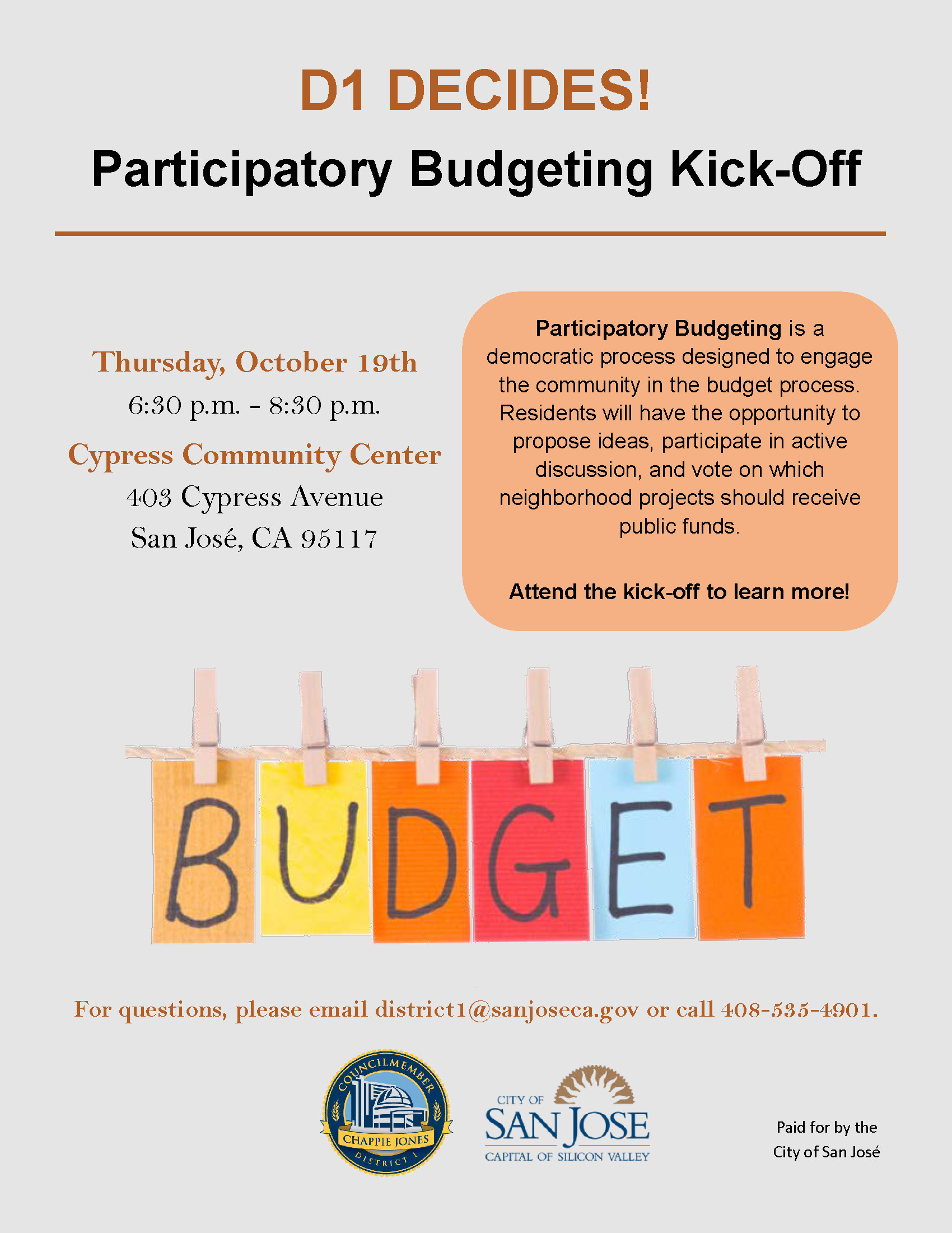 Flyer for the Participatory Budget kick-off meeting on October 19th at the Cypress Community Center.