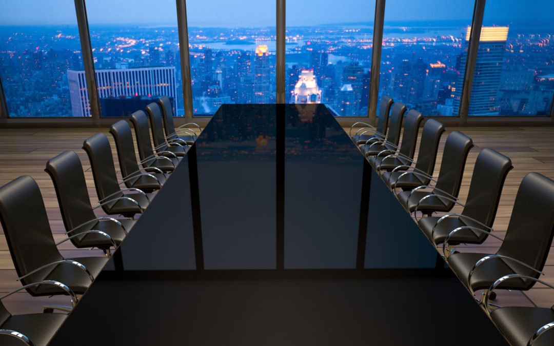 Image of empty boardroom in an office at New York City