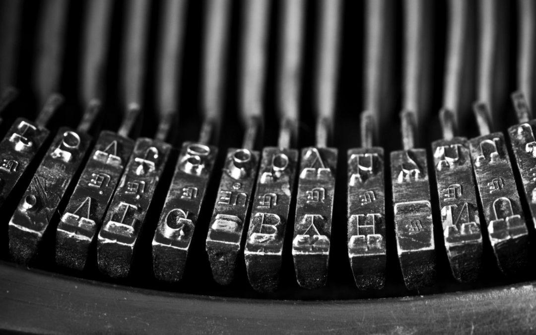 Image of typewriter hammer mechanism for PTAB blog post