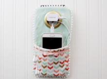 This easy to make hanging charger station will help you keep the clutter off your counter while powering up. Don't let the size fool you, the pocket is perfect for your cell phone and ear buds.