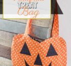 Free Jack O'lantern treat bag sewing pattern for Halloween