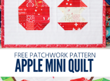 Free patchwork sewing pattern for an apple mini quilt.
