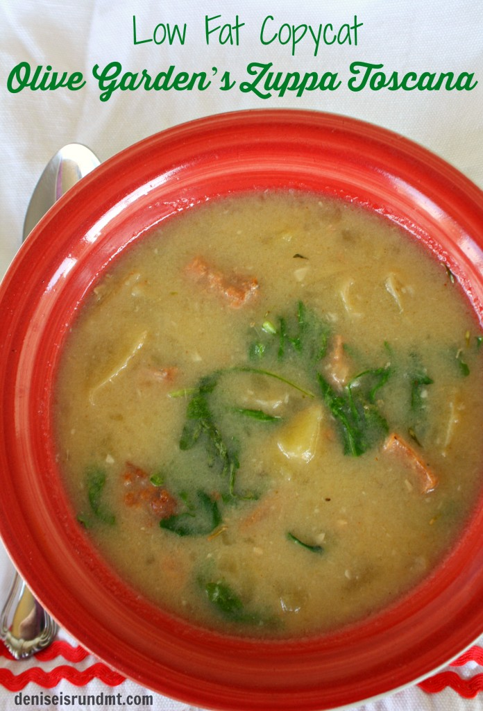 Low Fat Copycat of Olive Garden's Zuppa Toscana - a hearty spicy Italian chicken sausage soup with arugula and potato. #healthy #lowfat #crockpot