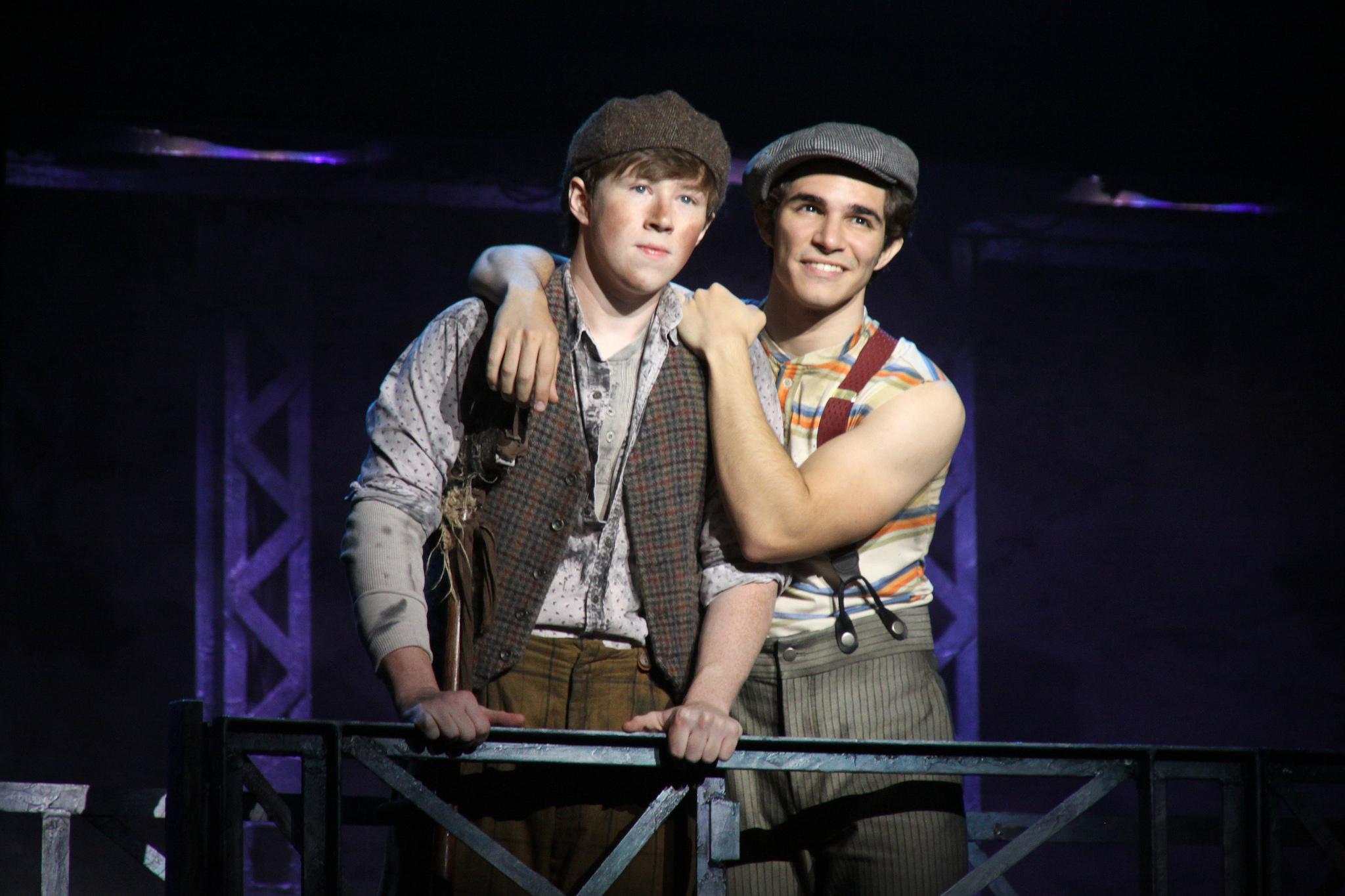 Newsies - Zachary Sayle (Crutchie) and Joey Barreiro (Jack Kelly). ©Disney. Photo by Shane Gutierrez