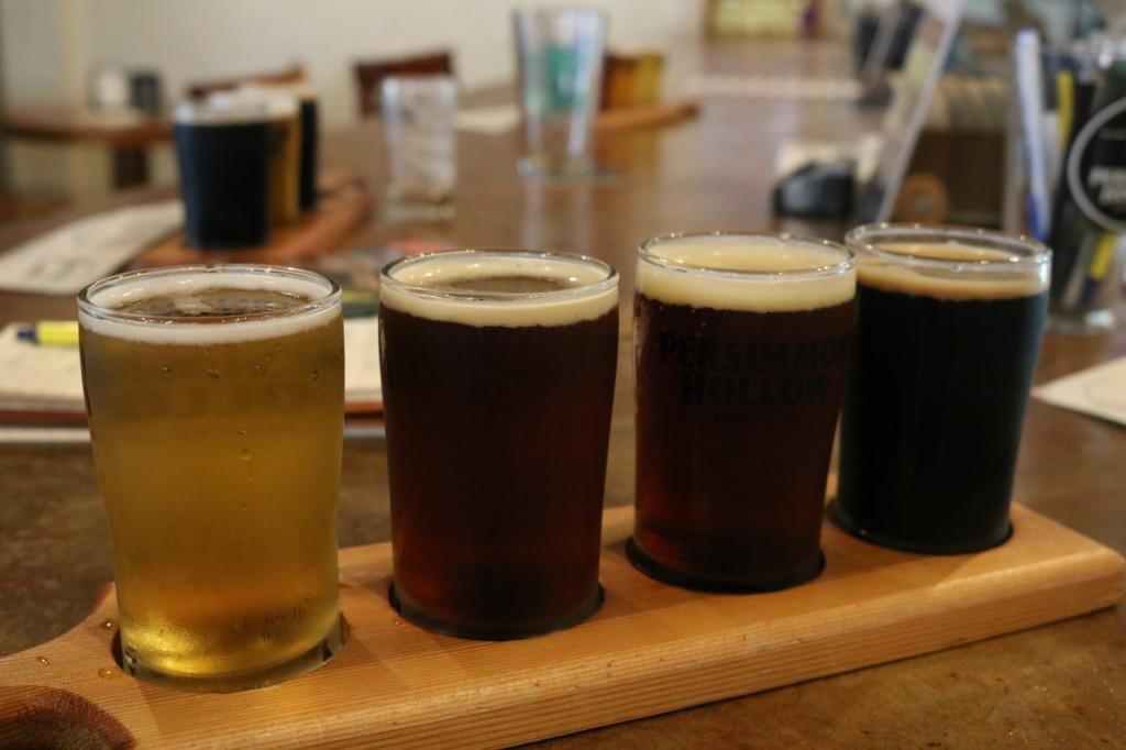 Flight of beer at Persimmon Brewing