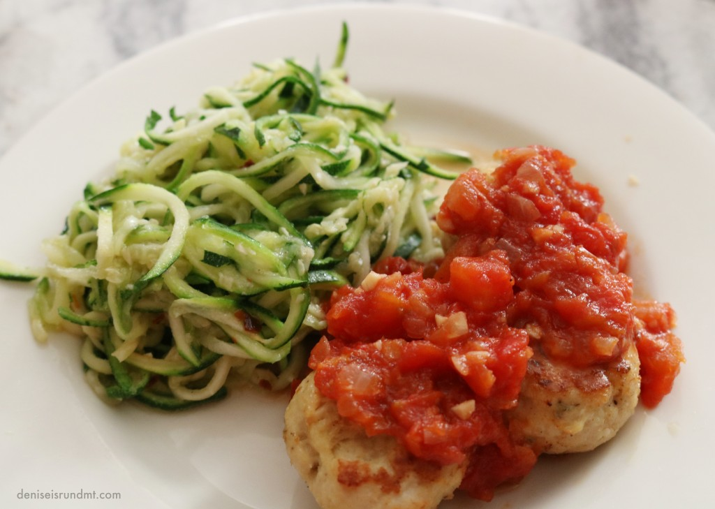 Baked Ground Turkey Meatballs and Zoodles