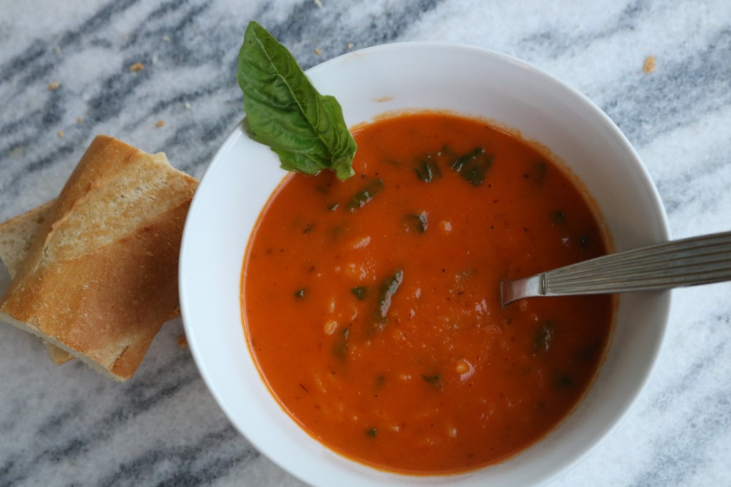 Roasted Red Pepper Orzo Spinach Soup