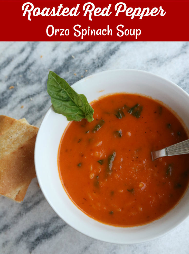 Roasted Red Pepper Orzo Spinach Soup - recipe Run DMT